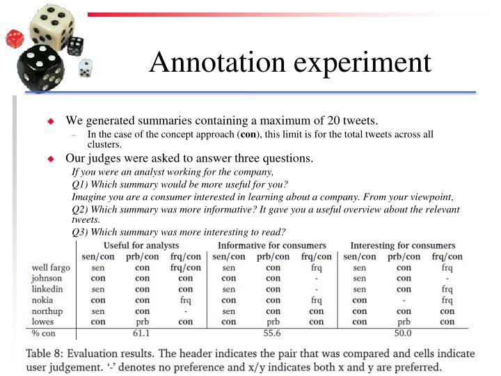 Annotation experiment