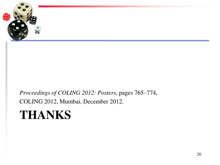 Proceedings of COLING 2012: Posters