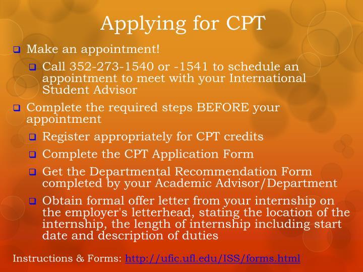 Applying for CPT