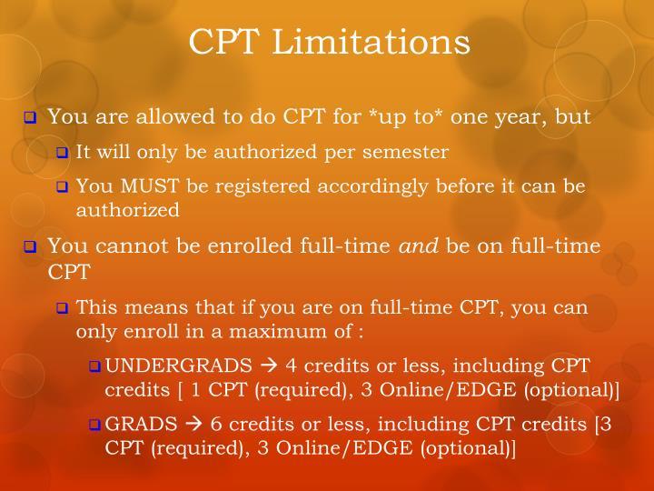 CPT Limitations