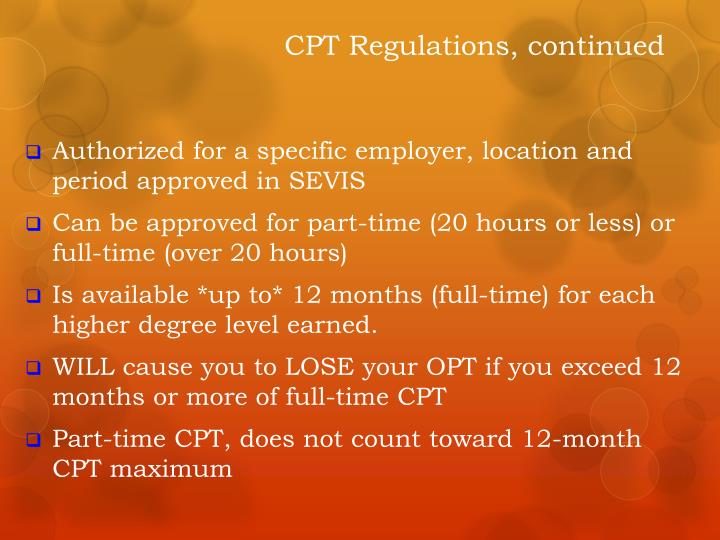 CPT Regulations, continued