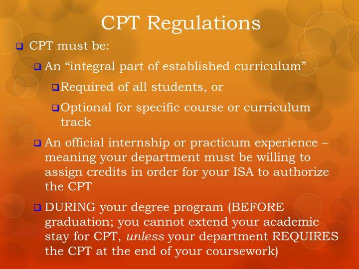 CPT Regulations