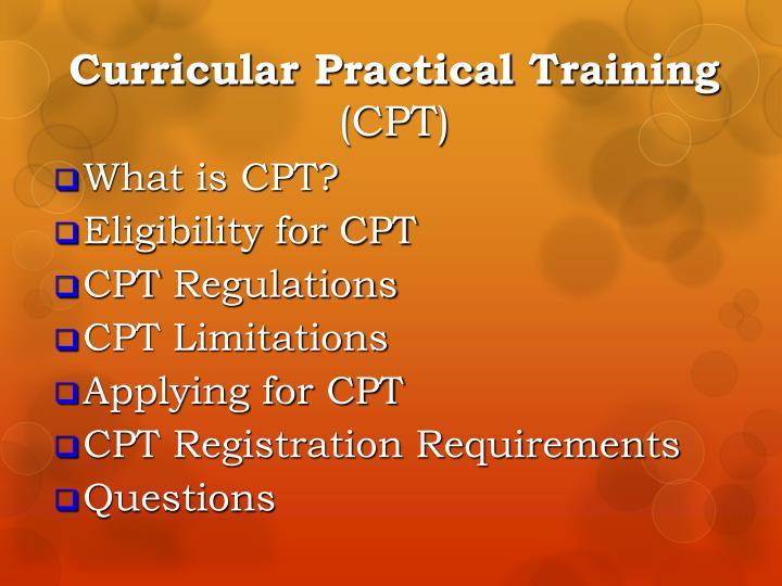 Curricular practical training cpt
