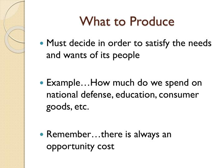 What to Produce