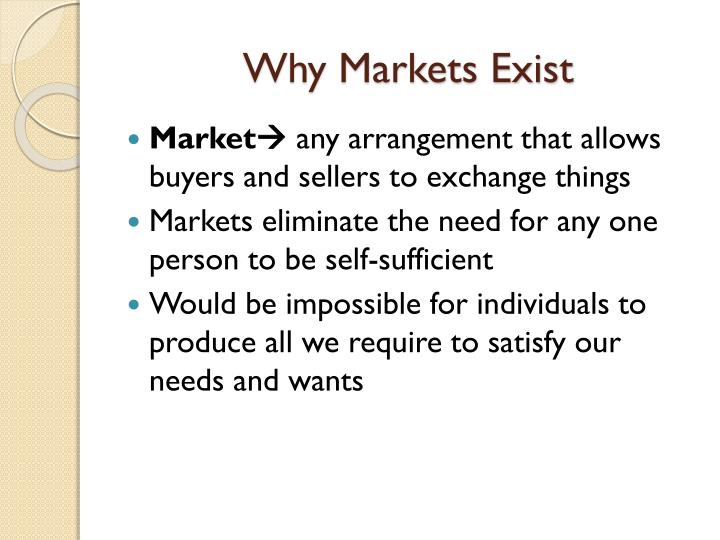 Why Markets Exist