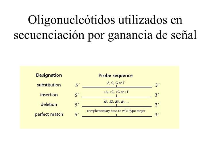 Oligonucleótidos utilizados en secuenciación por ganancia de señal