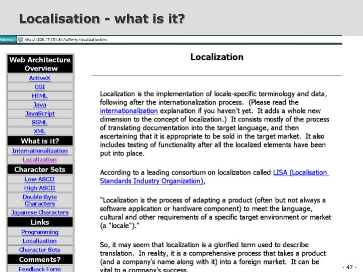 Localisation - what is it?