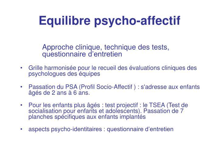 Equilibre psycho-affectif