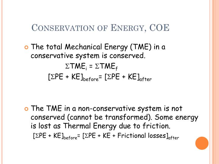 Conservation of Energy, COE