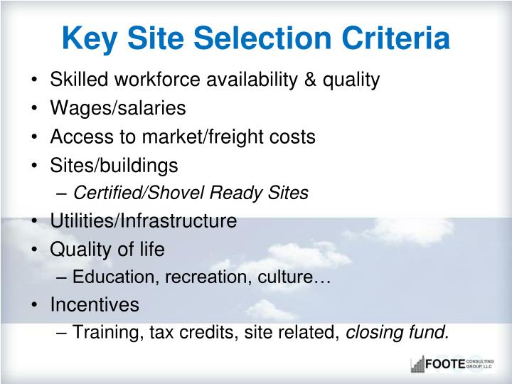 Key Site Selection Criteria