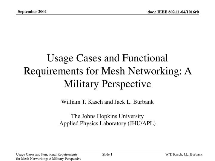 Ppt  Usage Cases And Functional Requirements For Mesh Networking A