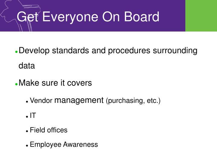 Develop standards and procedures surrounding data