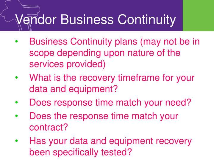 Vendor Business Continuity
