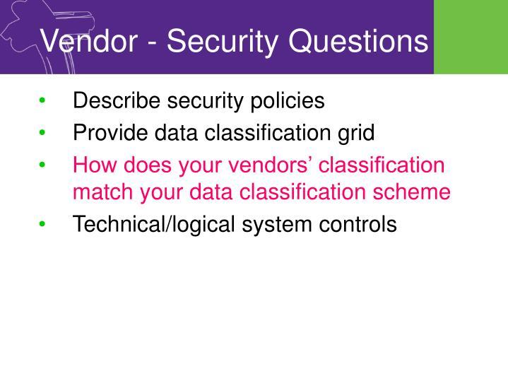 Vendor - Security Questions