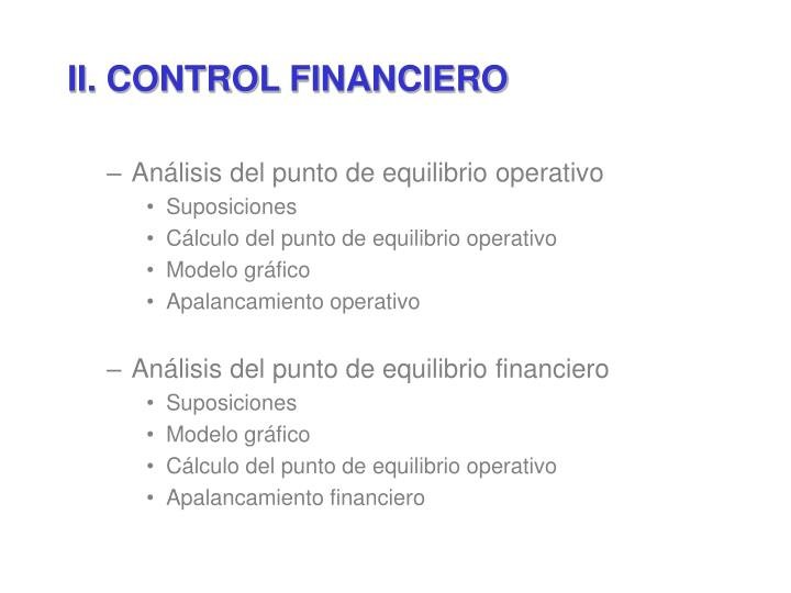 II. CONTROL FINANCIERO