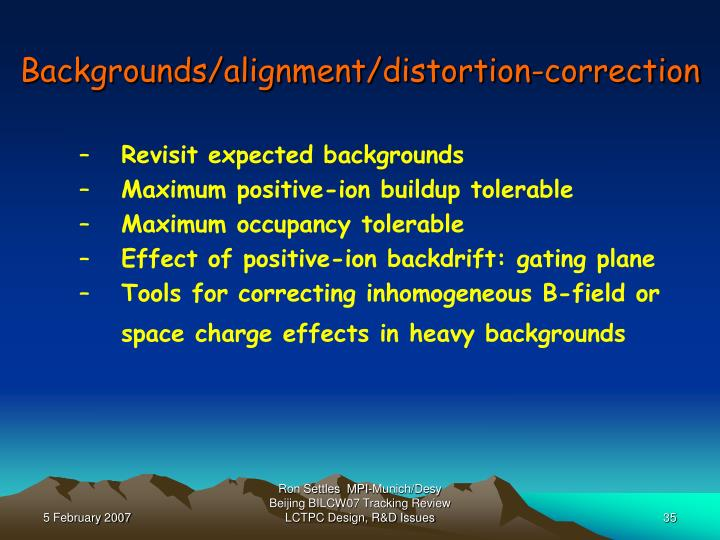 Backgrounds/alignment/distortion-correction