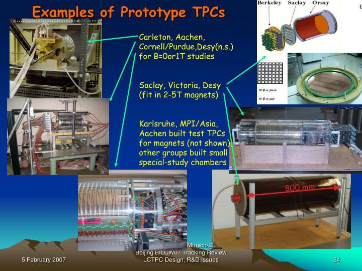 Examples of Prototype TPCs