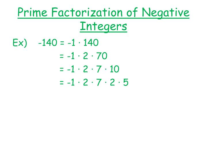 Prime Factorization of Negative Integers