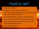 food in lab