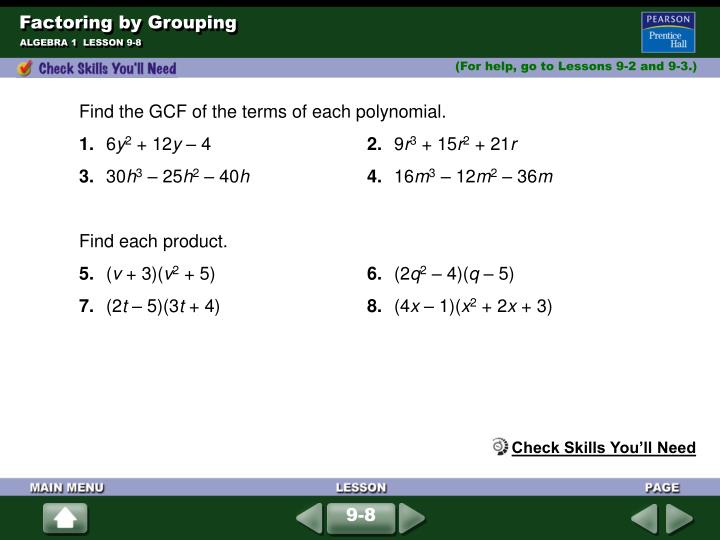 factoring by grouping n.