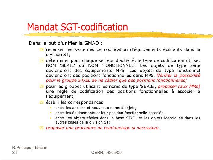 Mandat SGT-codification