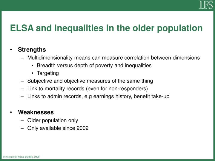 Elsa and inequalities in the older population1