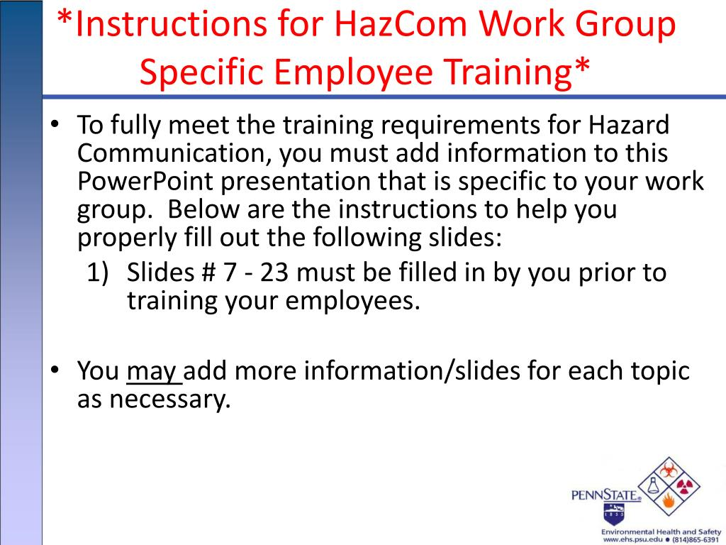 ppt instructions for hazcom work group specific employee training