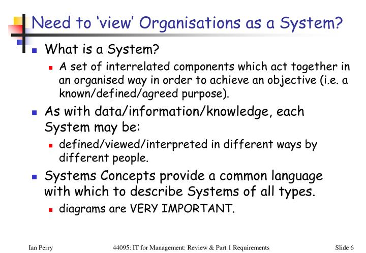 Need to 'view' Organisations as a System?