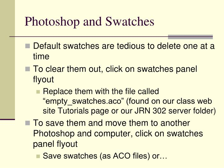 Photoshop and swatches