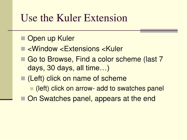 Use the Kuler Extension