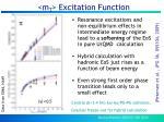 m t excitation function