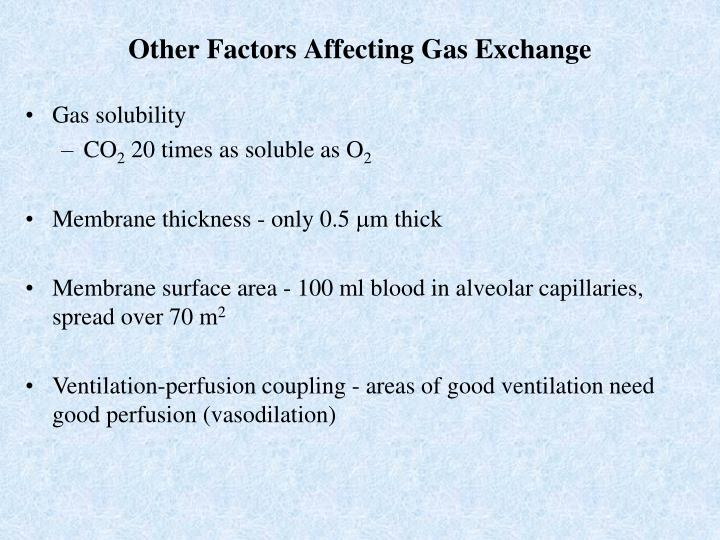 Other Factors Affecting Gas Exchange