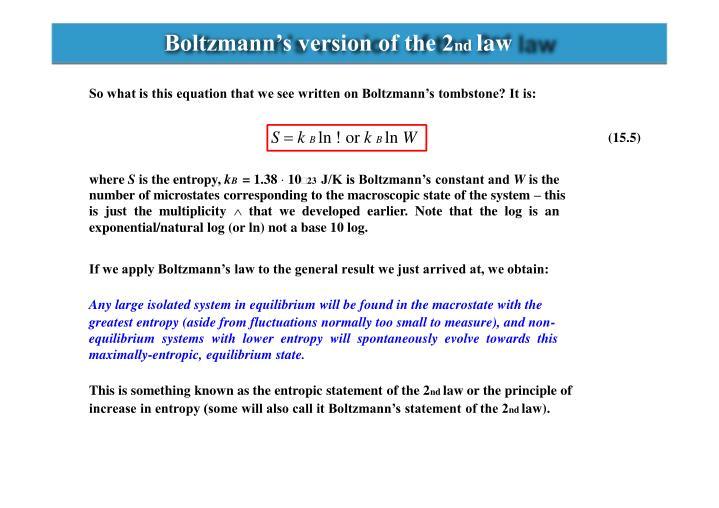 Boltzmann's version of the 2