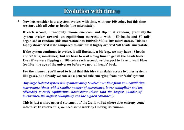 Evolution with time