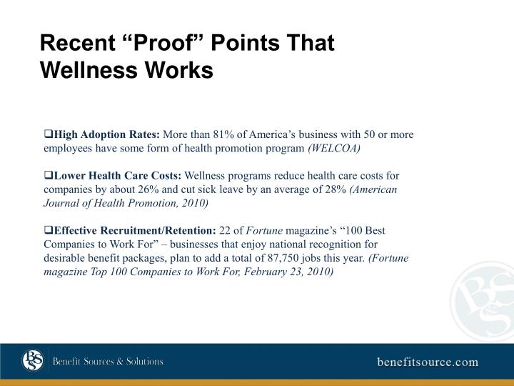 """Recent """"Proof"""" Points That Wellness Works"""