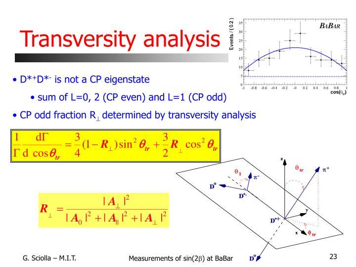 Transversity analysis