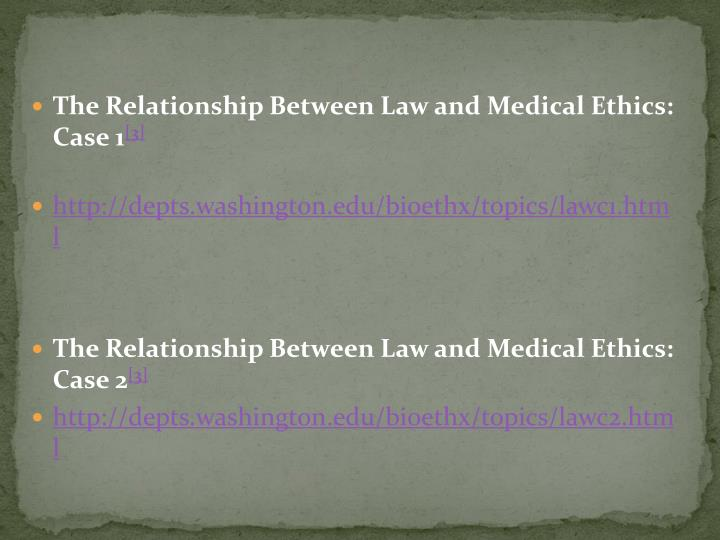 The Relationship Between Law and Medical Ethics: Case 1