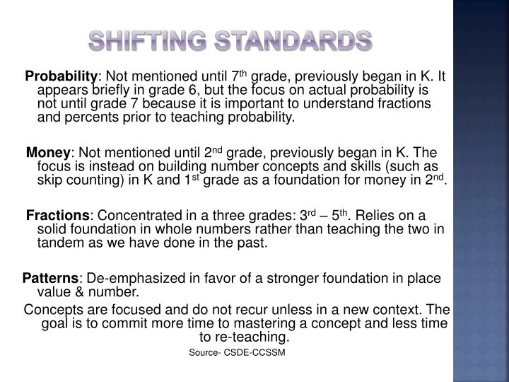 Shifting Standards