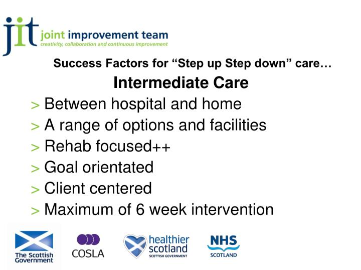 success factors for step up step down care