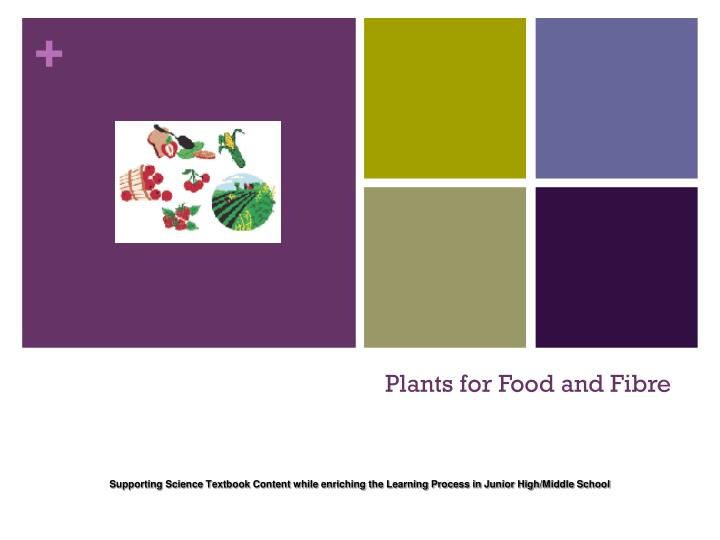 plants for food and fibre n.