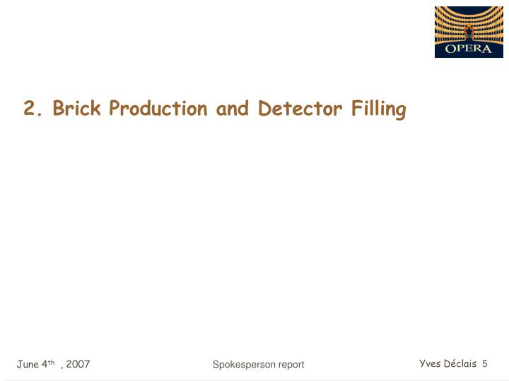2. Brick Production and Detector Filling