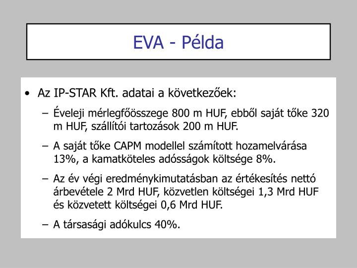 EVA - Példa
