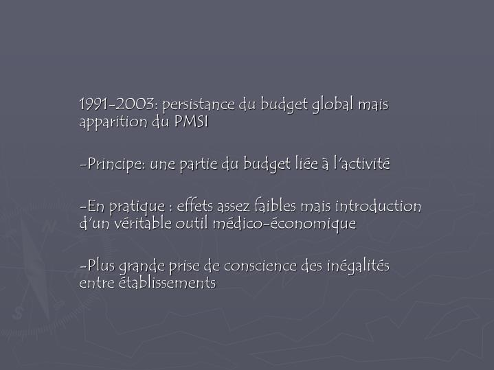 1991-2003: persistance du budget global mais apparition du PMSI