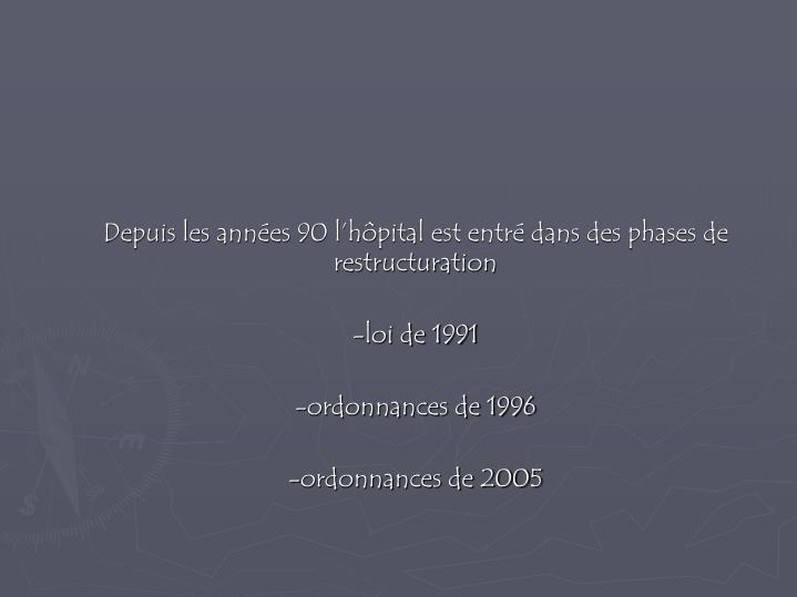 Depuis les années 90 l'hôpital est entré dans des phases de restructuration
