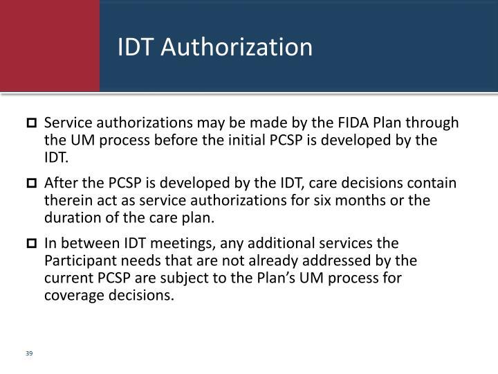 IDT Authorization
