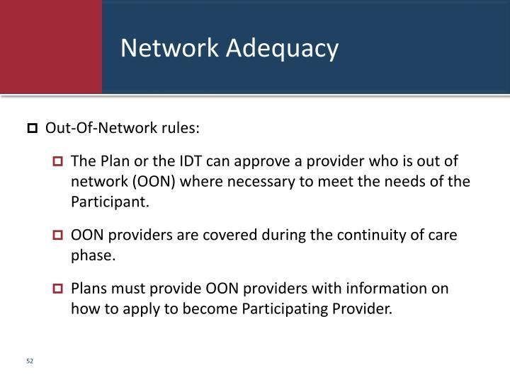Network Adequacy