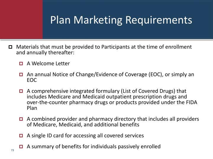 Plan Marketing Requirements