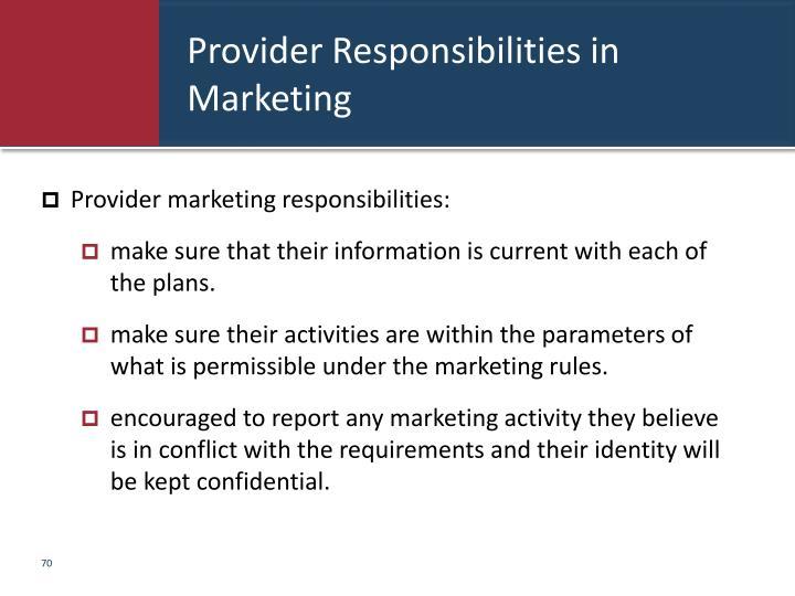 Provider Responsibilities in Marketing