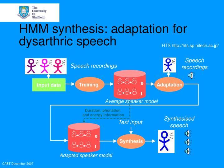 HMM synthesis: adaptation for dysarthric speech