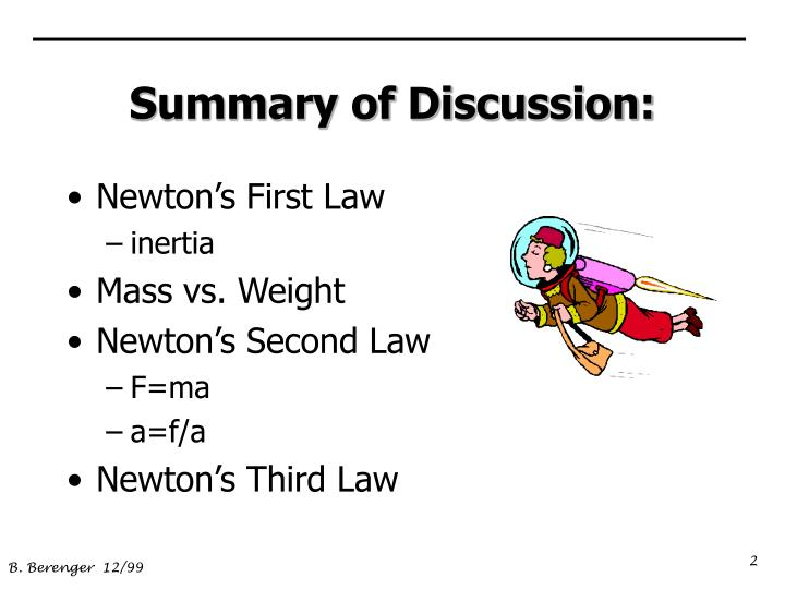 summary of newtons second law